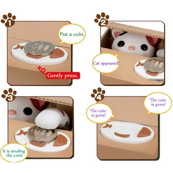 Cute Cat Automated Savings Coin Box