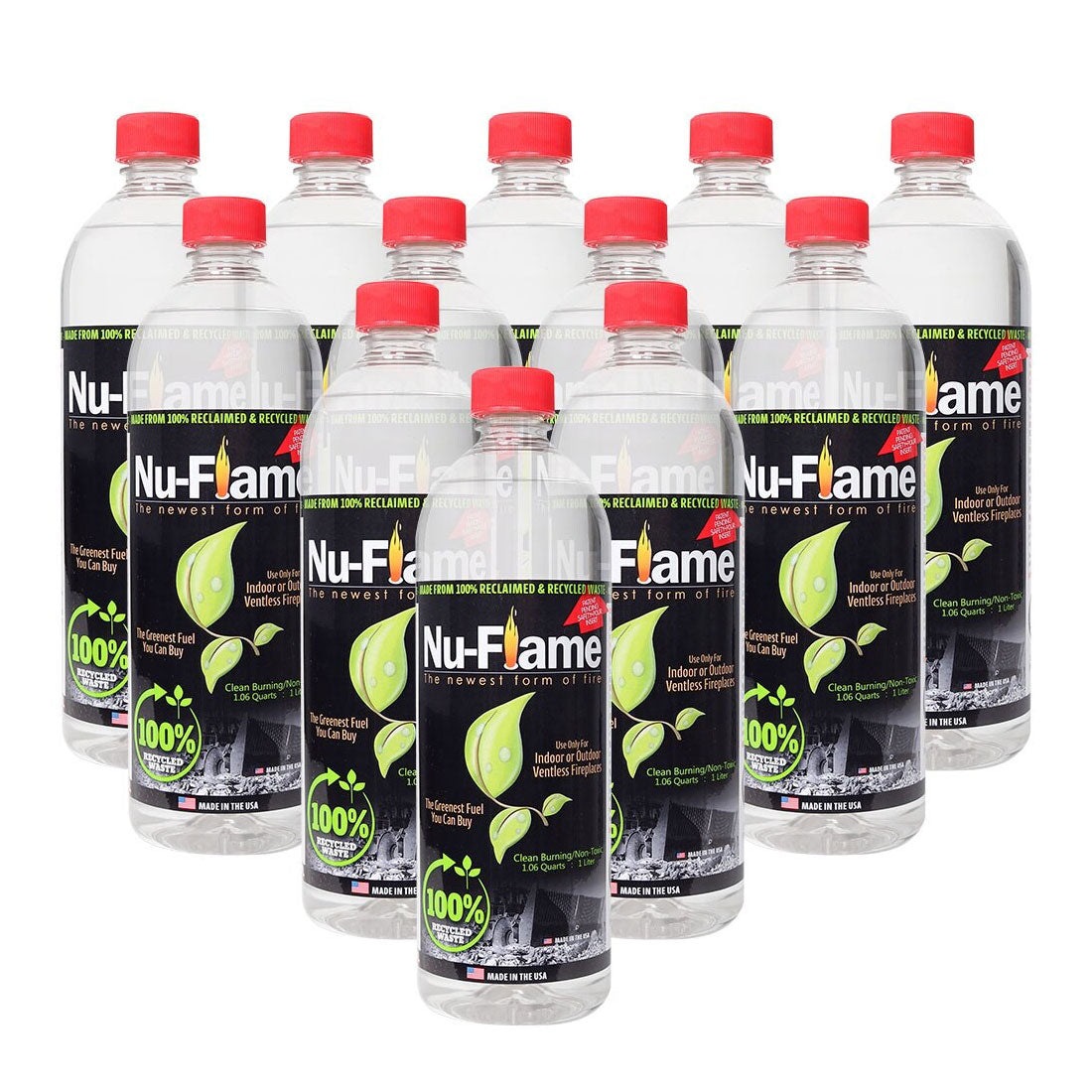 Nu-Flame® Ethanol Fireplace Fuel - 12 x 1 Liter Pack