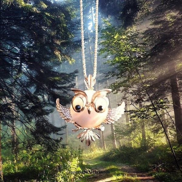 Gold Plated Opal Owl Necklace