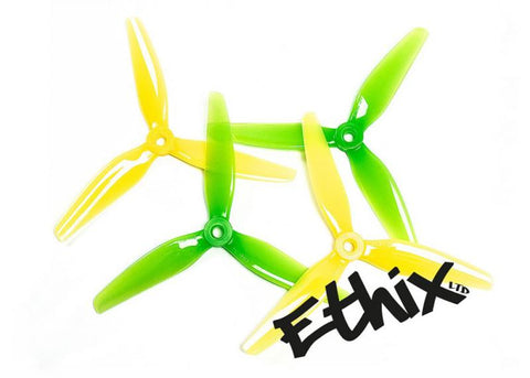 "HQ Ethix S4 Lemon Lime 5"" 3-BLADE PROPS (2CW+2CCW) - PC"