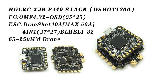 HGLRC XJB F440 - F4 Flight Control ( D-Shot Version) + 40A 3-5S ESC BLHeli_32