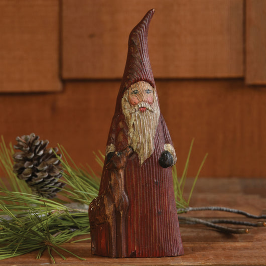 Rustic Hand Carved Wooden Santa St Nick