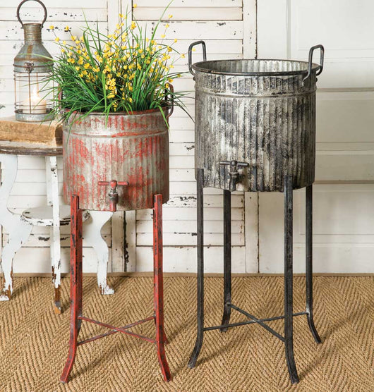Galvanized Metal Tubs on Stand with Decorative Water Spigots - Set of 2