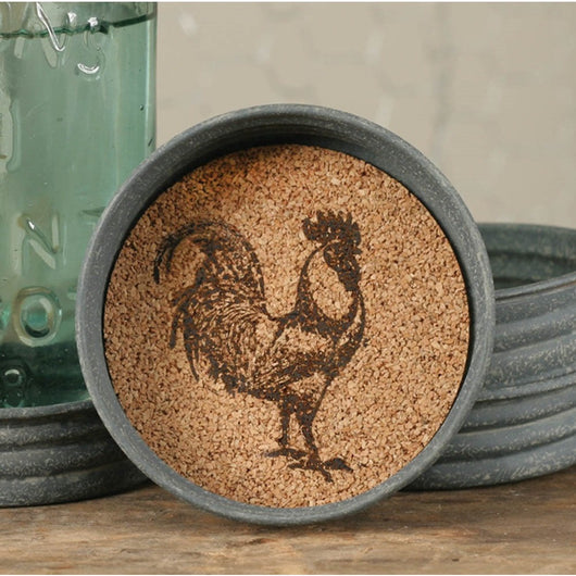 Mason Jar Lid Coaster with cork inside printed with a Rooster