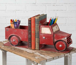 Vintage Red Pickup Truck Bookends