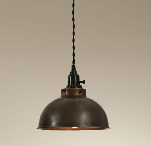 Industrial Domed Pendant Lamp With Aged Copper Finish