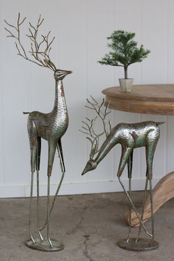 Tall Antique Silver Metal Reindeer Set of 2