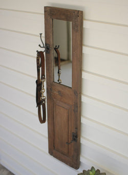 Antique Wooden Door Panel W/Hook and Mirror