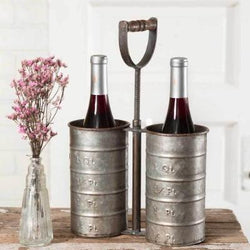 Metal Wine Bottle Caddy-Vintage Inspired Measuring Cups-Unique Wine Bottle Holder
