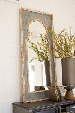 Painted Wood Mirror Weathered Rustic Distressed Hand Painted