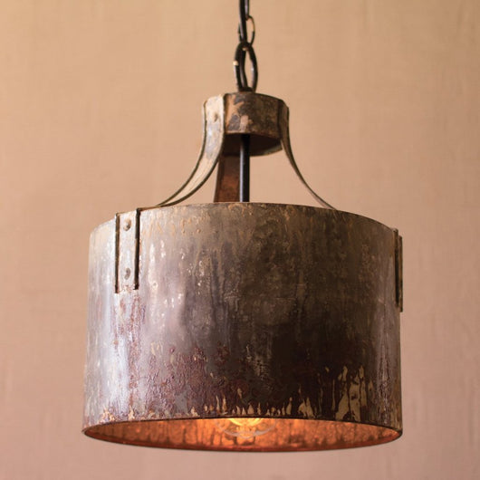 Rustic Metal Drum Pendant Light