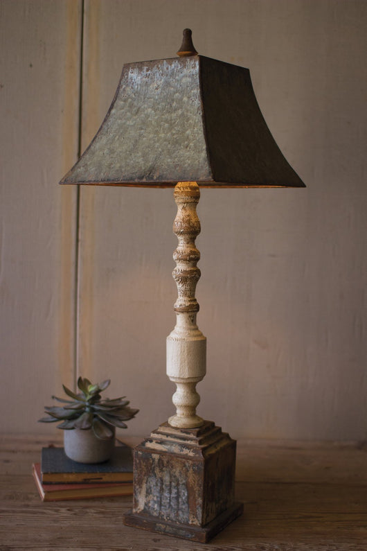 Tall Banister Lamp With Metal Shade