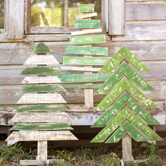 Painted Wood Christmas Trees Recycled Wood