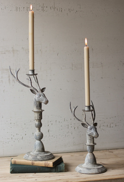 Rustic Metal Deer Taper Candle Holders
