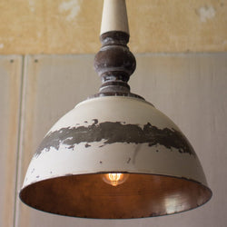 Antique Buttermilk Metal Pendant Light