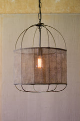 Drum Pendant With Fabric Shade