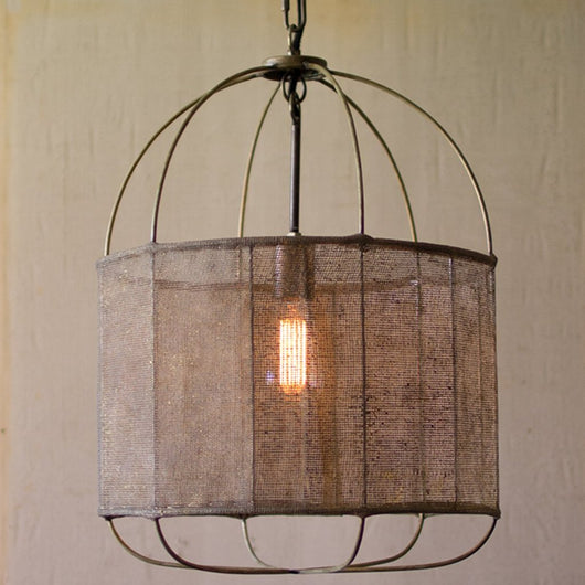 Metal Drum Pendant Light With Mesh Fabric Shade