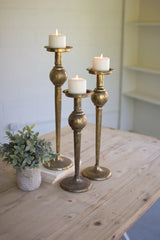 Antique Brass Finish Candle Stands