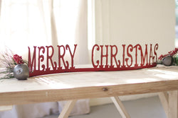 Red Metal Merry Christmas Mantle Top Decoration