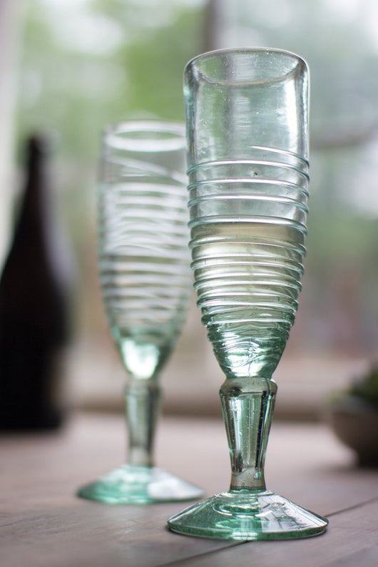 Tall Recycled Glass Swirl Champagne Flutes