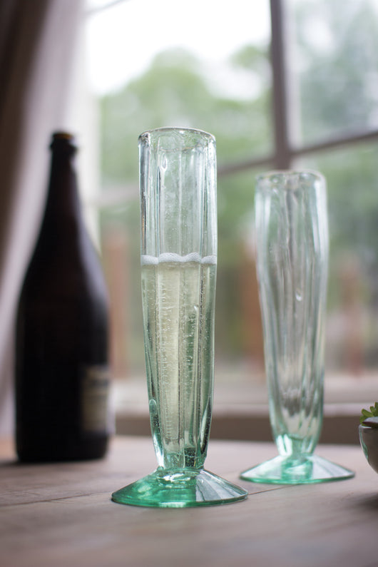 Recycled Glass Fluted Champagne Flutes - Set of 6