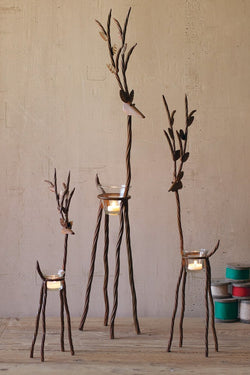 Rustic Metal Reindeer Candle Holders