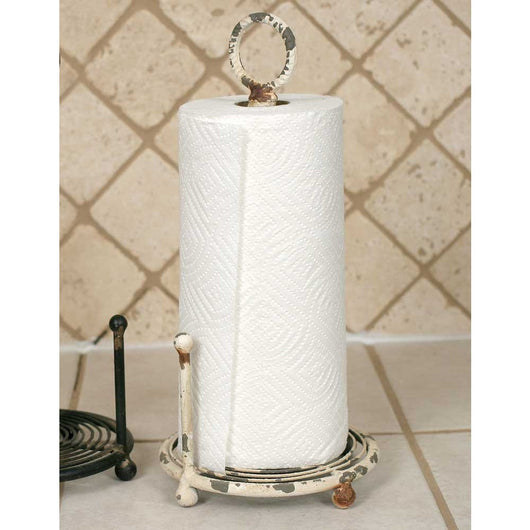 Vintage looking distressed cream colored paper towel holder with removable rod in the middle