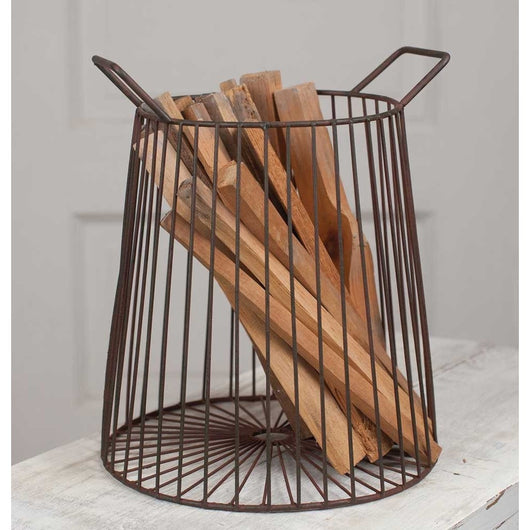 Farmhouse WIre Kindling Basket with Handles