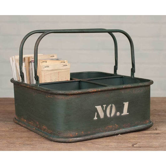 Vintage Army Green Aged Metal Bin with No.1 painted on it. Four Compartments and folding handles.