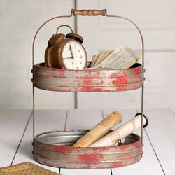 2 Tiered Red Seving Caddy finished in a rustic distressed red finish with a vintage style wooden handle