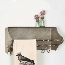 Metal Toolbox with rustic finish has a towel bar and hooks.  Hangs on the wall as a shelf.