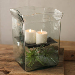 Large Square Glass Hurricane Candle Holder