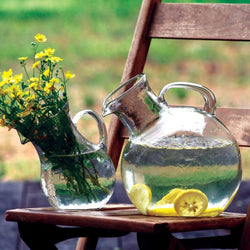 Round Circular Glass Tilted Pitcher Lemonade Sangria Wine Pitcher Decanter