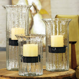 Ribbed Glass Hurricane Candle Holders With Removable Insert