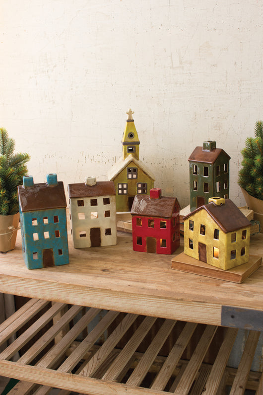 Ceramic Christmas Village Houses Church