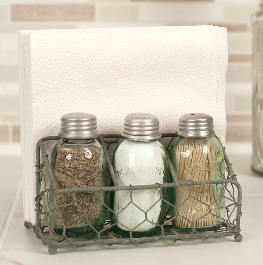 Chicken Wire Salt Pepper and Napkin Holder