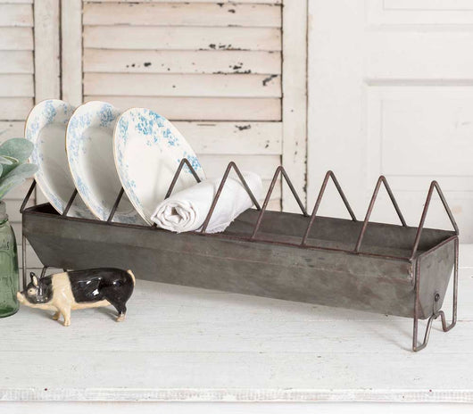 Rustic Chicken Feeder Plate Rack
