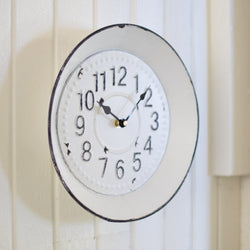 White Enamelware Clock