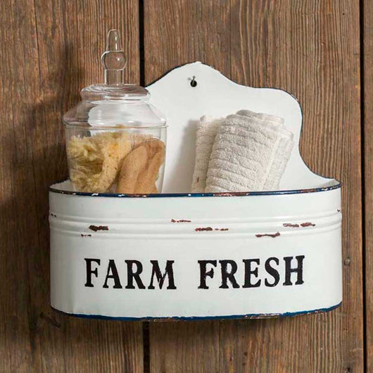 White Enamel Wall Bins Farm Fresh