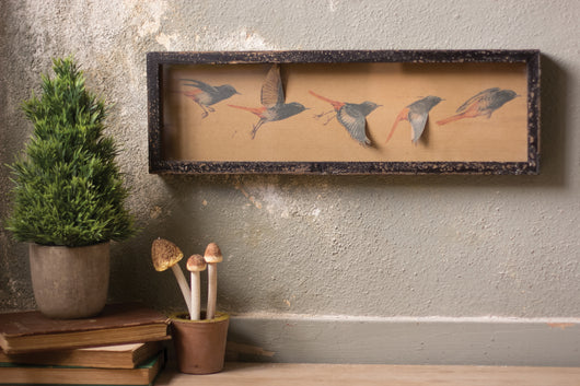 Framed Paper Birds in Rustic Shadow Box.