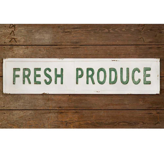 Fresh Produce Embossed Metal Sign-White w/green lettering