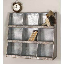 Galvanized Metal Wall Storage Cubby with 9 seperate cubbies for storing and organizing.