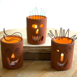 Jack O Lantern Pumpkin Candle Holders
