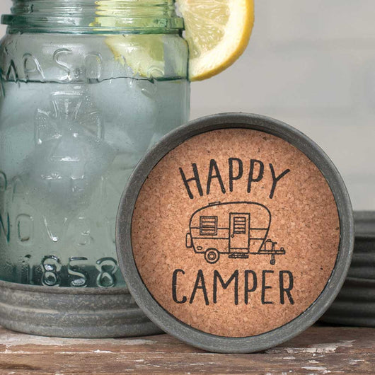 Mason Jar Lid Coaster with cork inside printed with HAPPY CAMPER inside