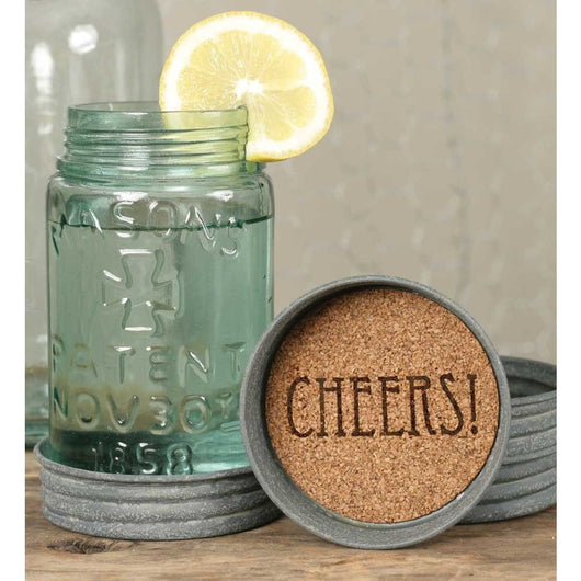 Mason Jar Lid Coaster with cork inside printed with CHEERS!