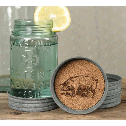 Mason Jar Lid Coaster with cork inside printed with a charming pig