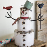 Rustic Painted Metal Snowman