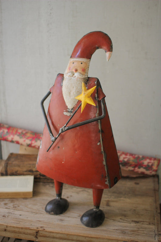 Recycled Metal Santa With Star