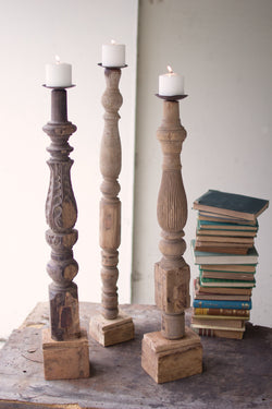 Old Wooden Table Leg Candle Stands