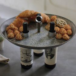 Large Galvanized Metal WIne Bottle Top Tray